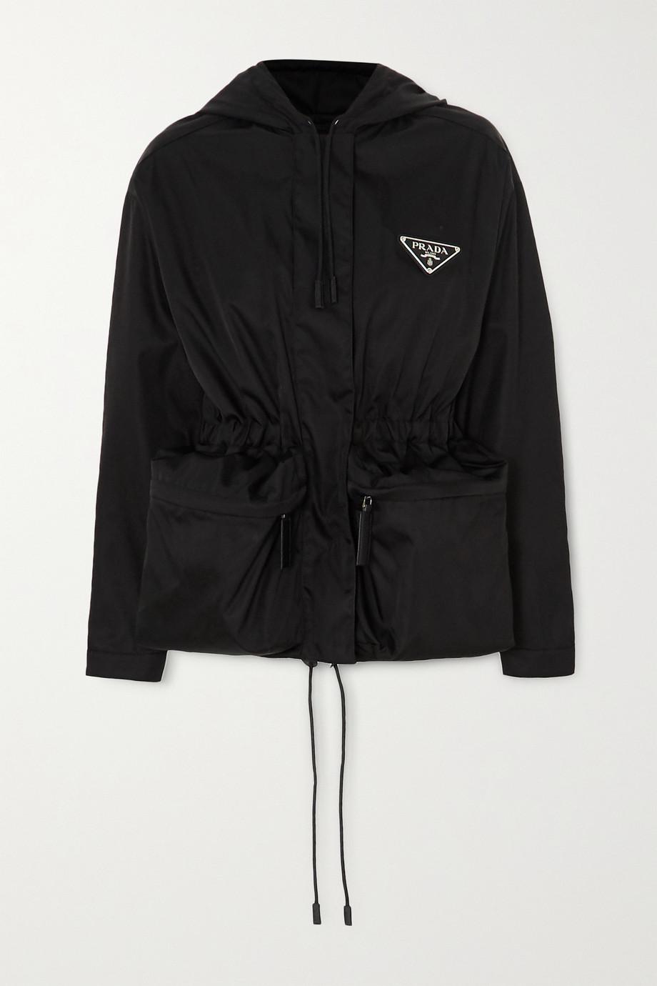 Prada Hooded appliquéd nylon jacket