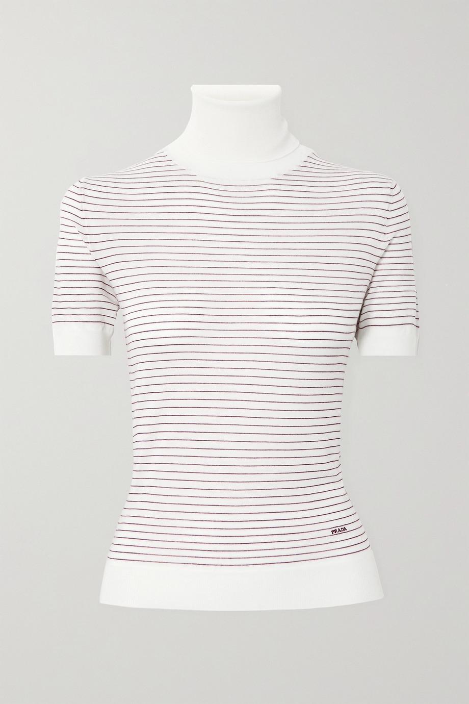 Prada Embroidered striped wool turtleneck top