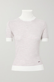 Prada Embroidered striped wool turtleneck top