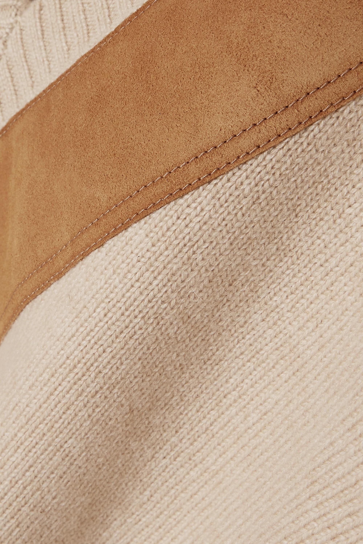 Beige Suede-trimmed Cashmere Sweater | Prada