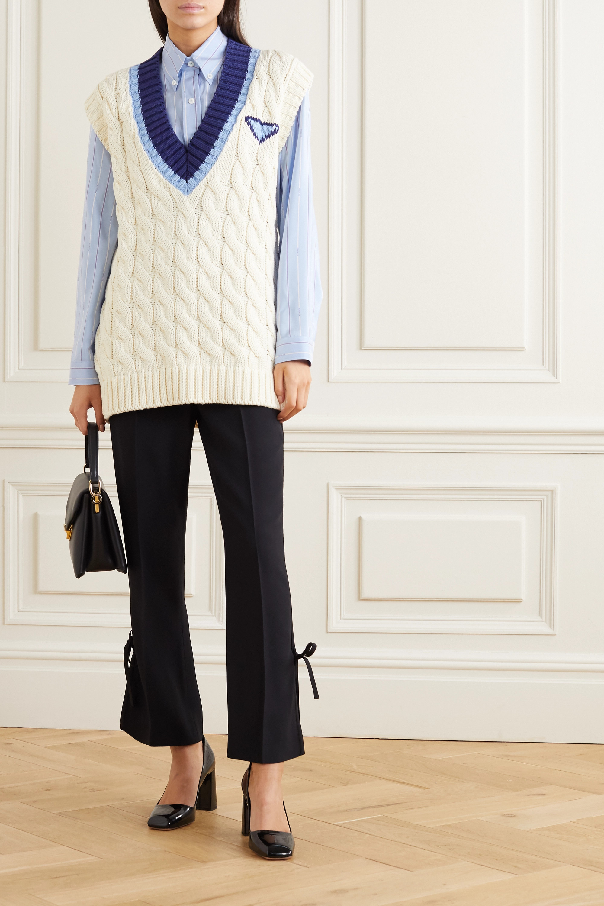 Prada Oversized intarsia cable-knit cotton vest