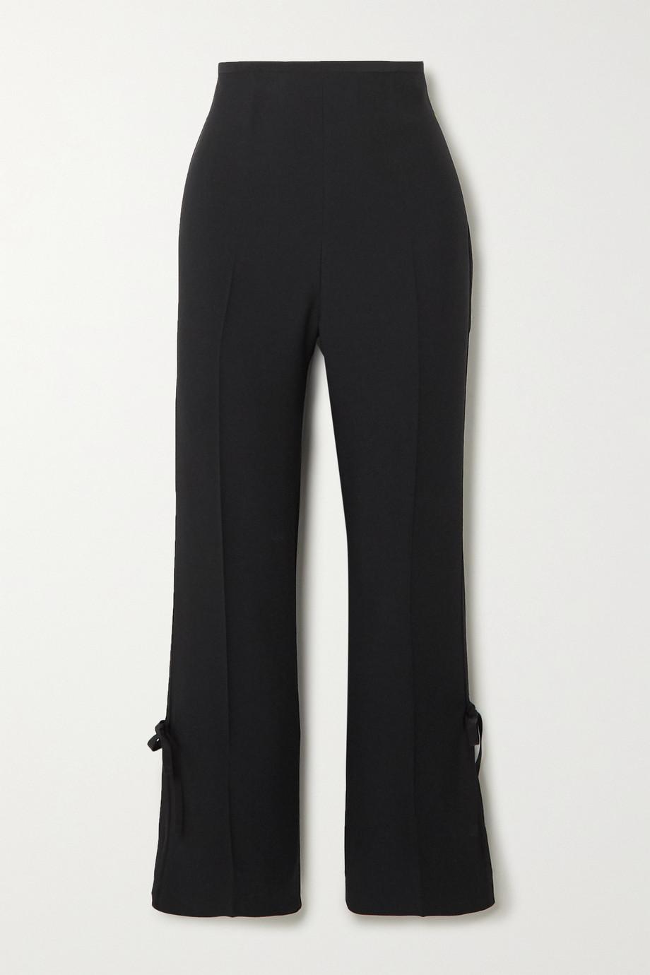 Prada Bow-embellished cropped crepe straight-leg pants