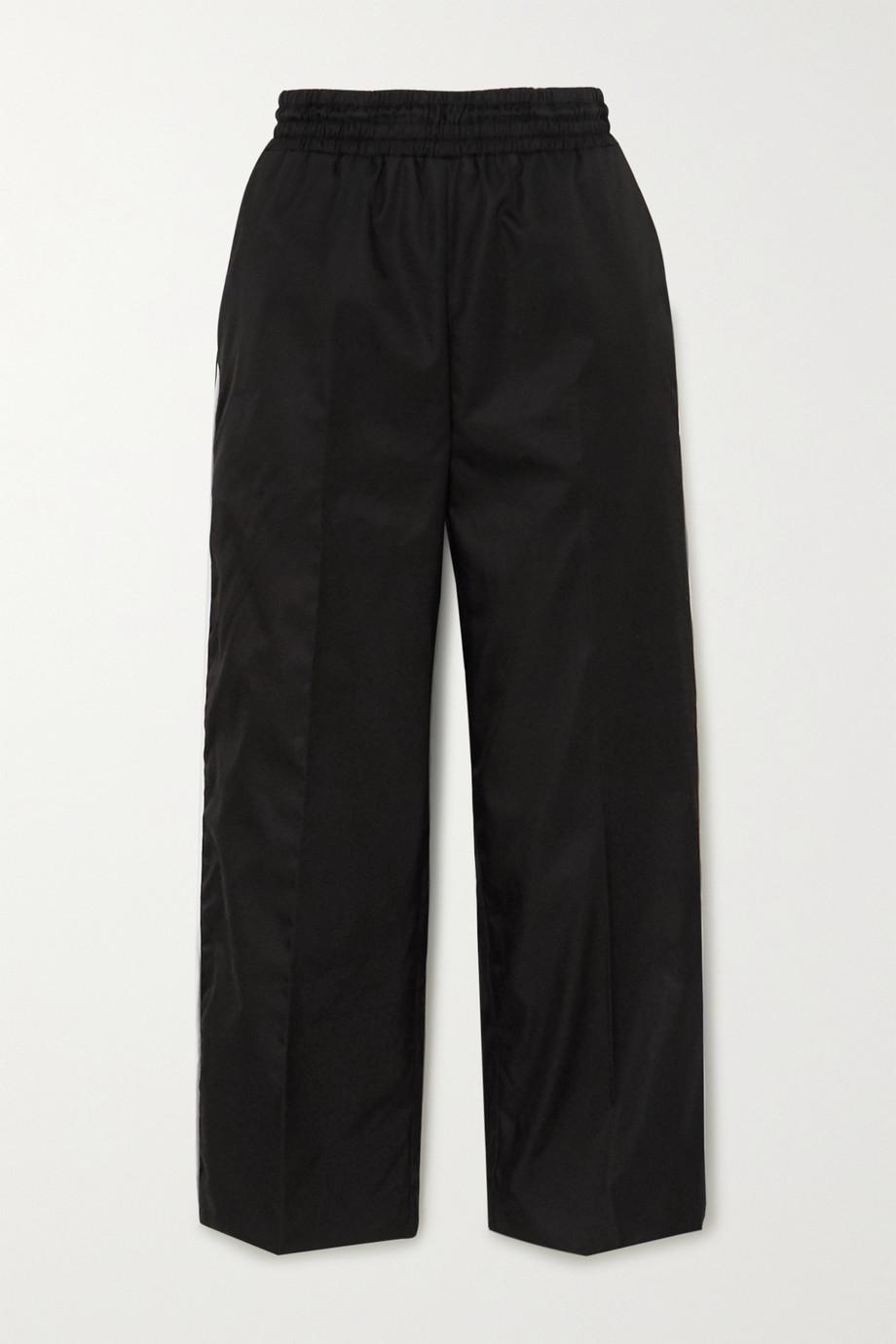 Prada Cropped appliquéd piped nylon straight-leg pants