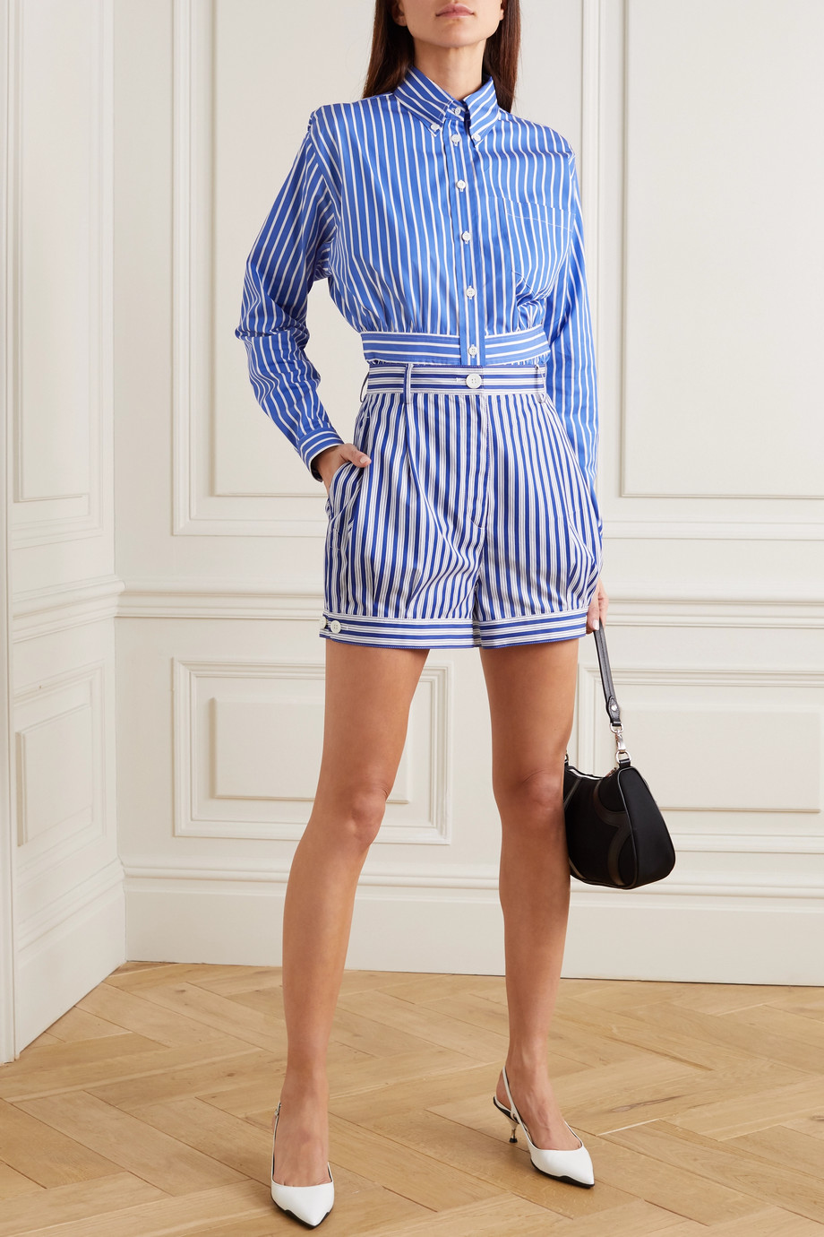 Prada Striped cotton-poplin shorts