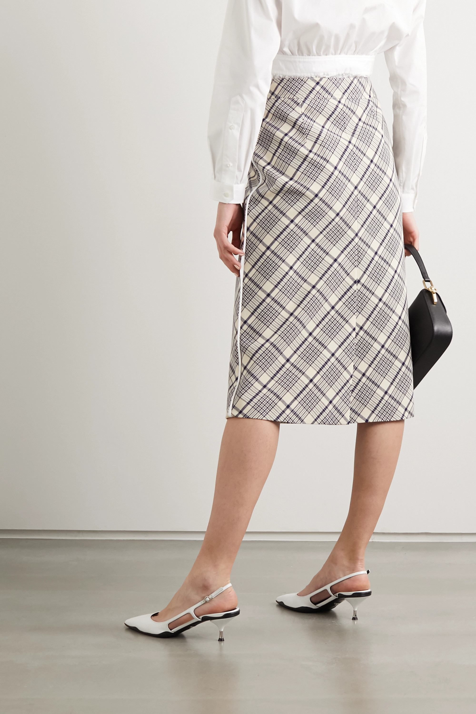 Prada Sequin-embellished checked wool midi skirt