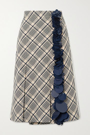 Prada Sequin-embellished checked wool midi skirt