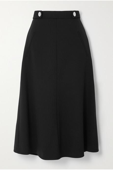 Black Button-embellished wool-blend midi skirt | Prada Xzjbcu