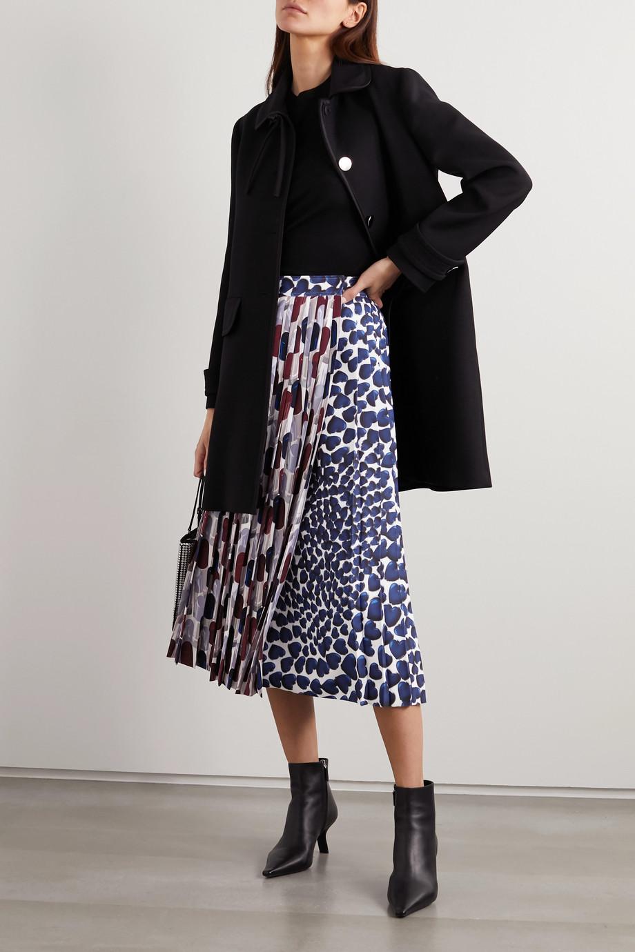 Prada Pleated printed crepe midi skirt