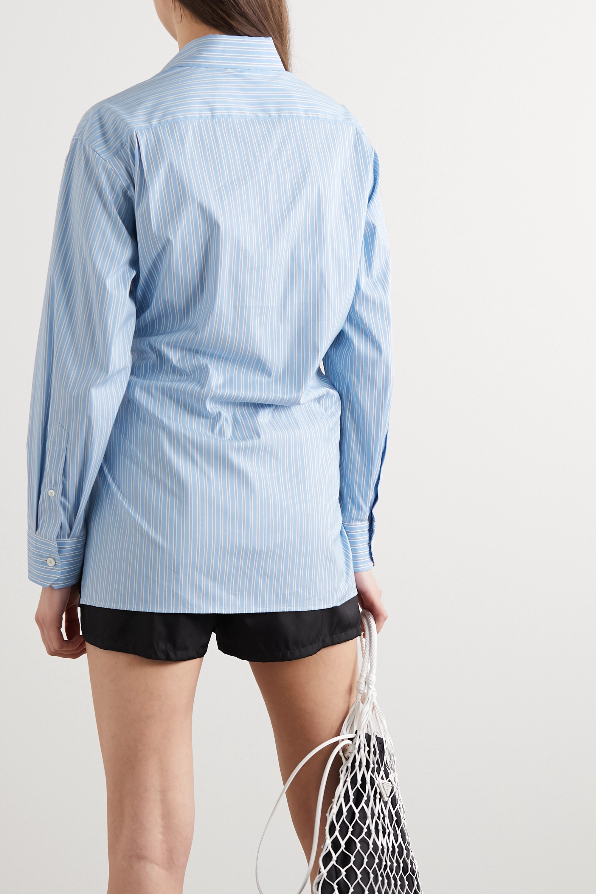Prada Oversized striped cotton-blend poplin shirt
