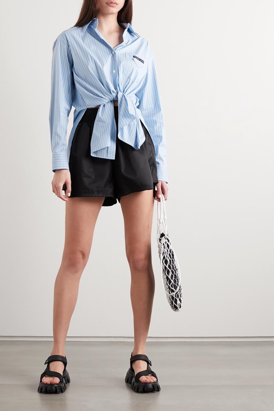 Prada Oversized striped cotton-blend poplin shirt
