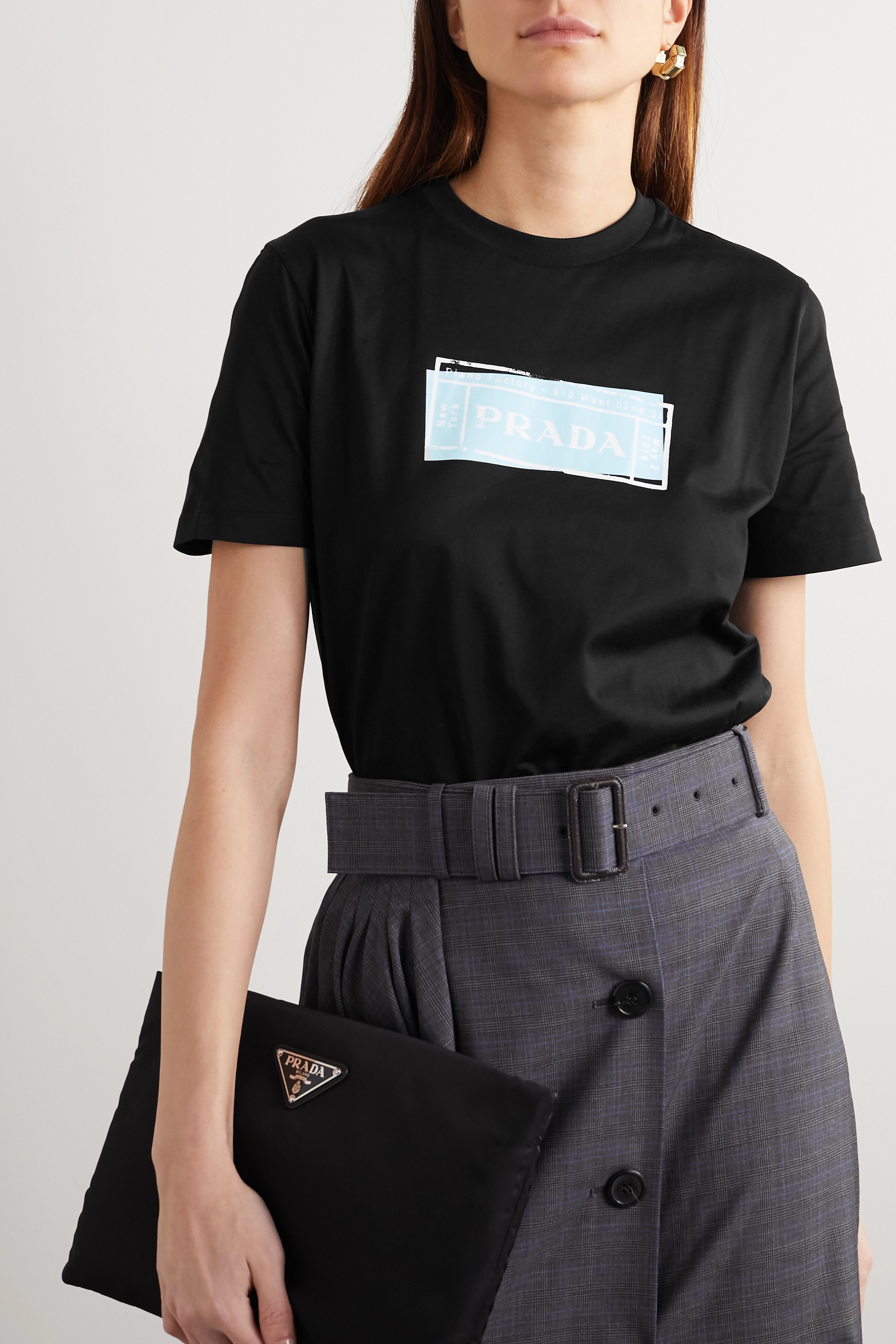 Prada Leather-trimmed printed cotton-jersey T-shirt