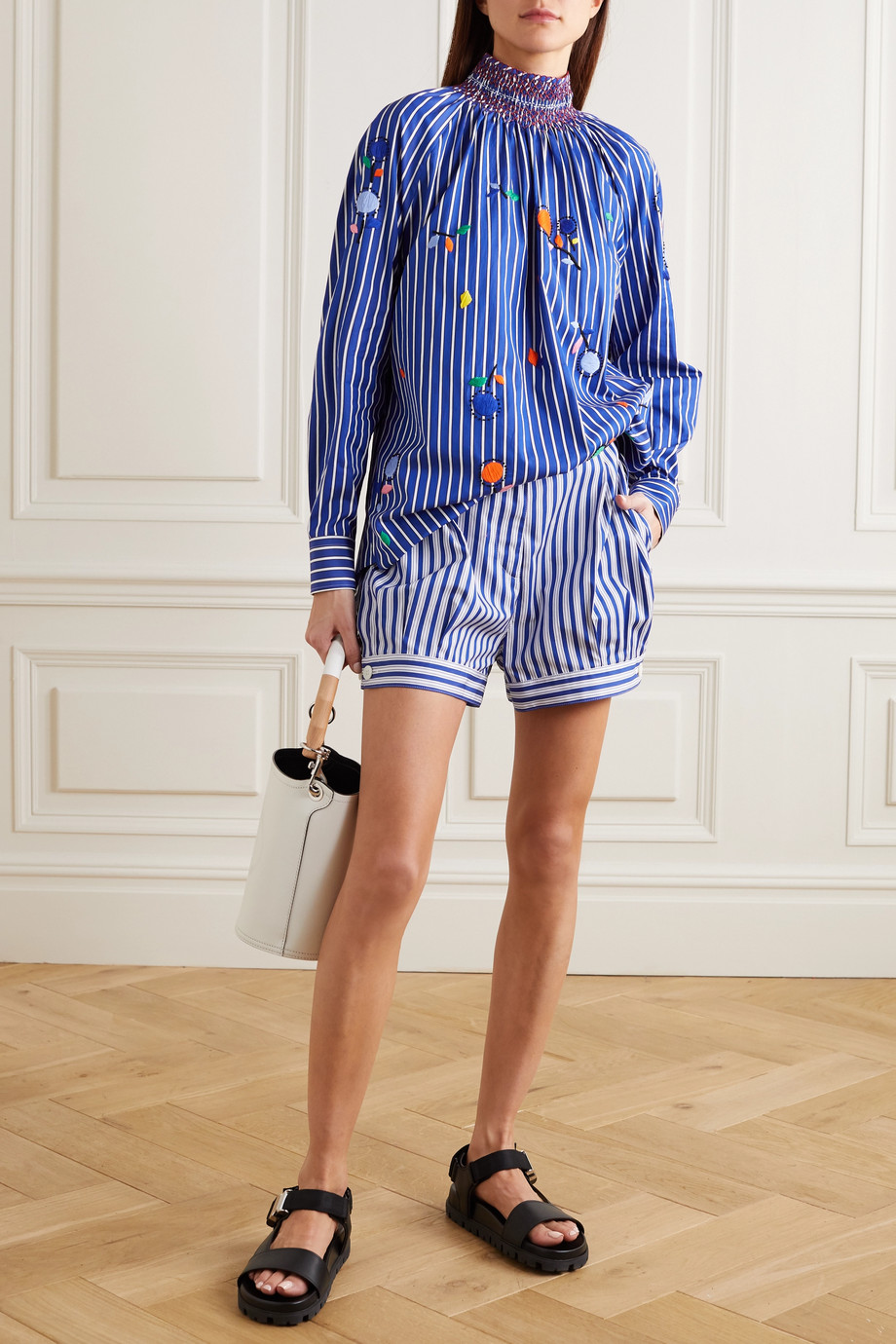 Prada Smocked embroidered striped cotton-poplin blouse