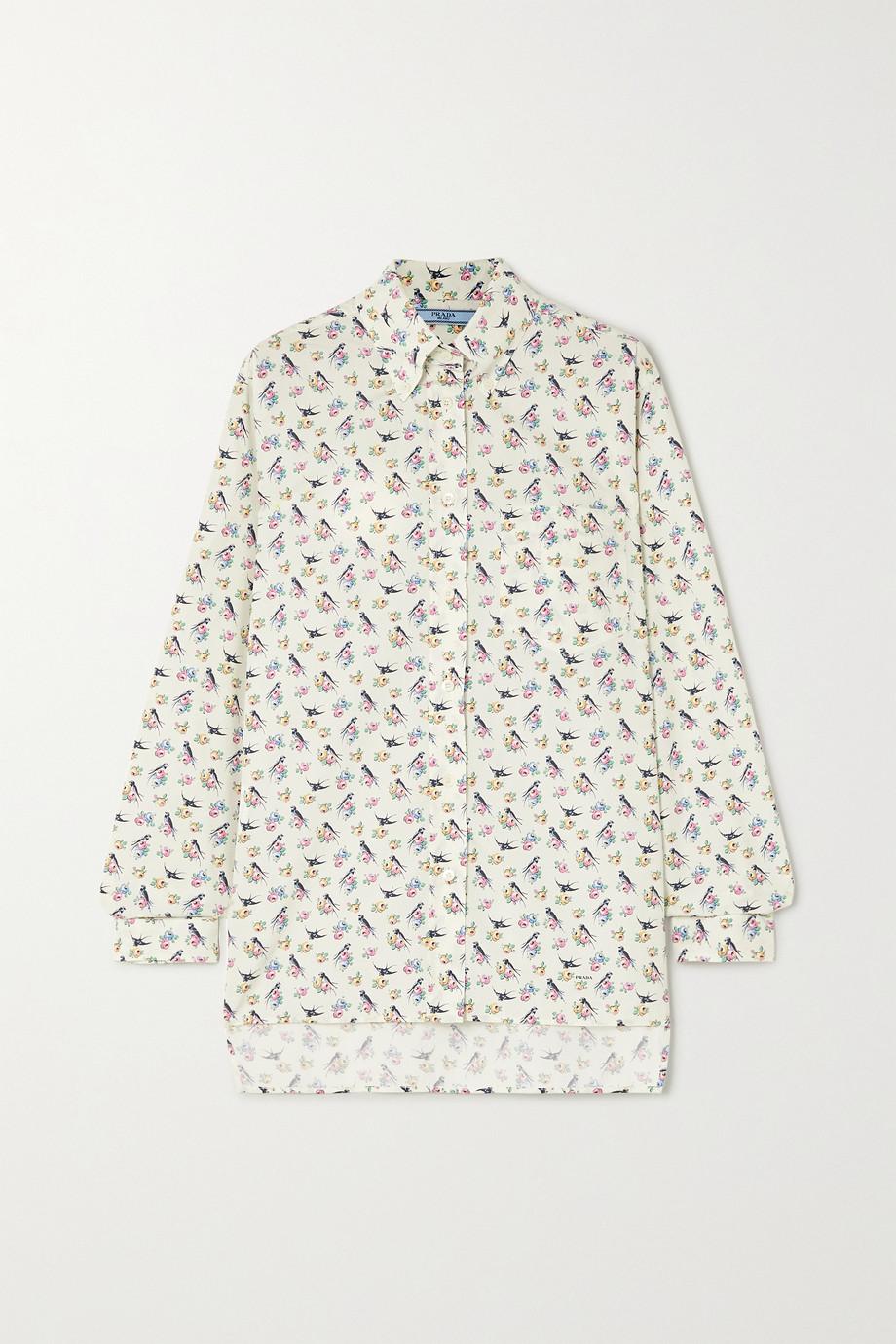 Prada Hemd aus bedruckter Baumwollpopeline