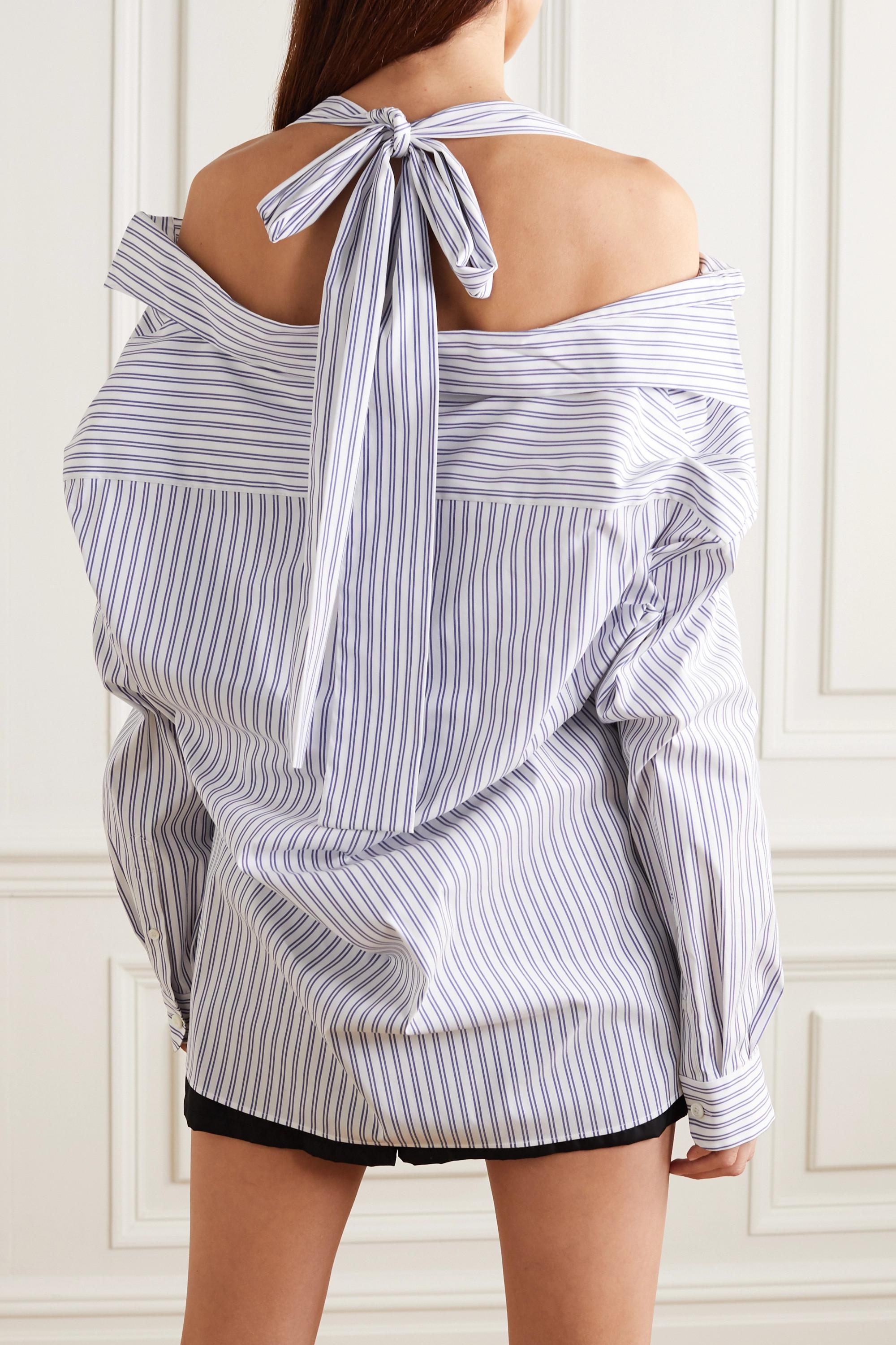 Prada Blouse épaules nues en popeline de coton mélangé à rayures