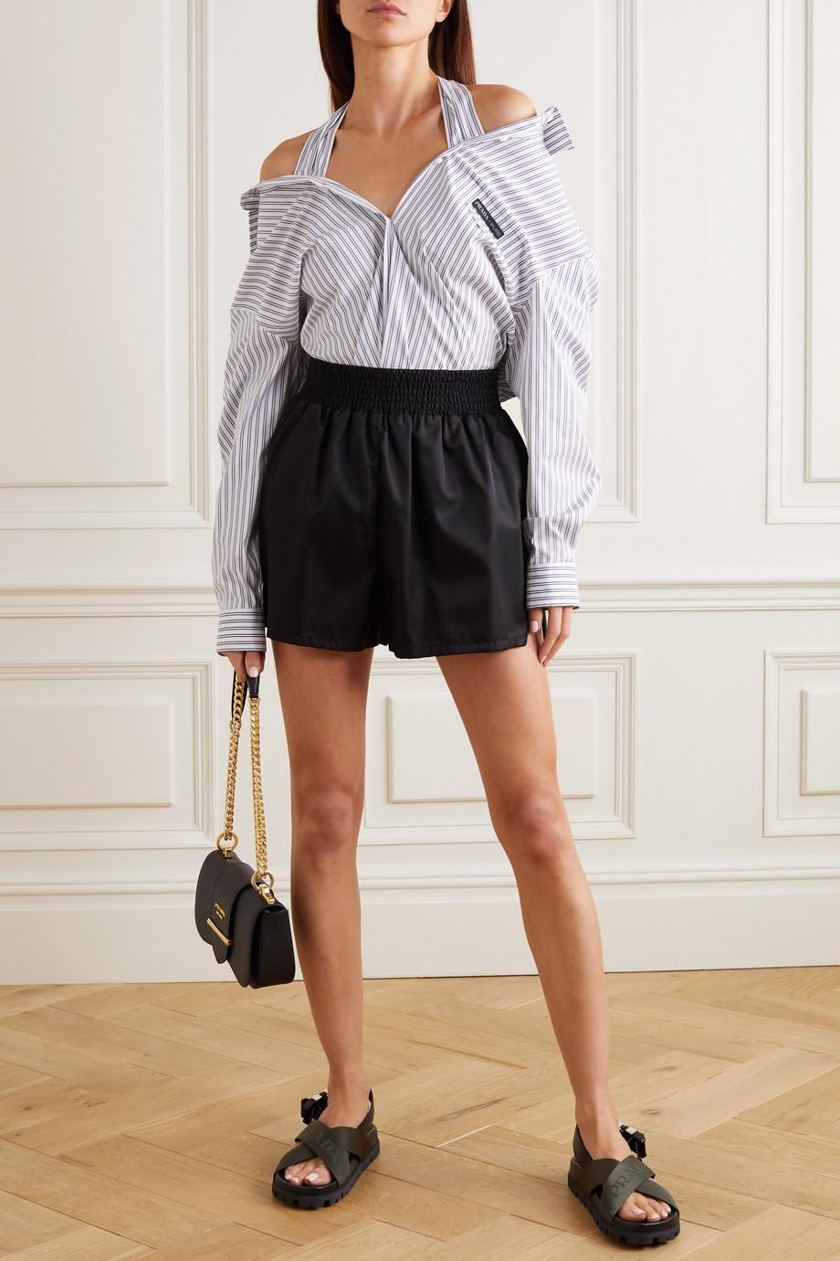 Prada Cold-shoulder striped cotton-blend poplin shirt