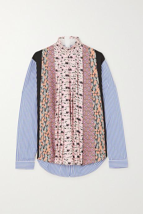 Pink Paneled striped poplin and floral-print crepe blouse | Prada 2XMtgg