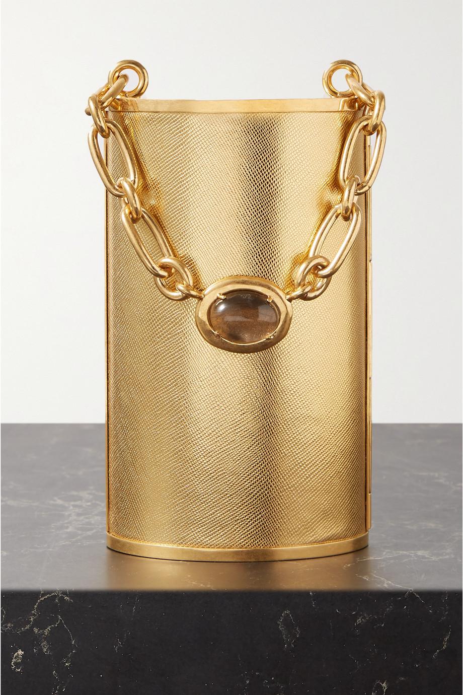 Oscar de la Renta Tower crystal-embellished gold-tone tote