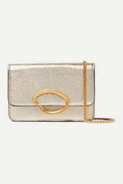 O Chain metallic textured-leather shoulder bag
