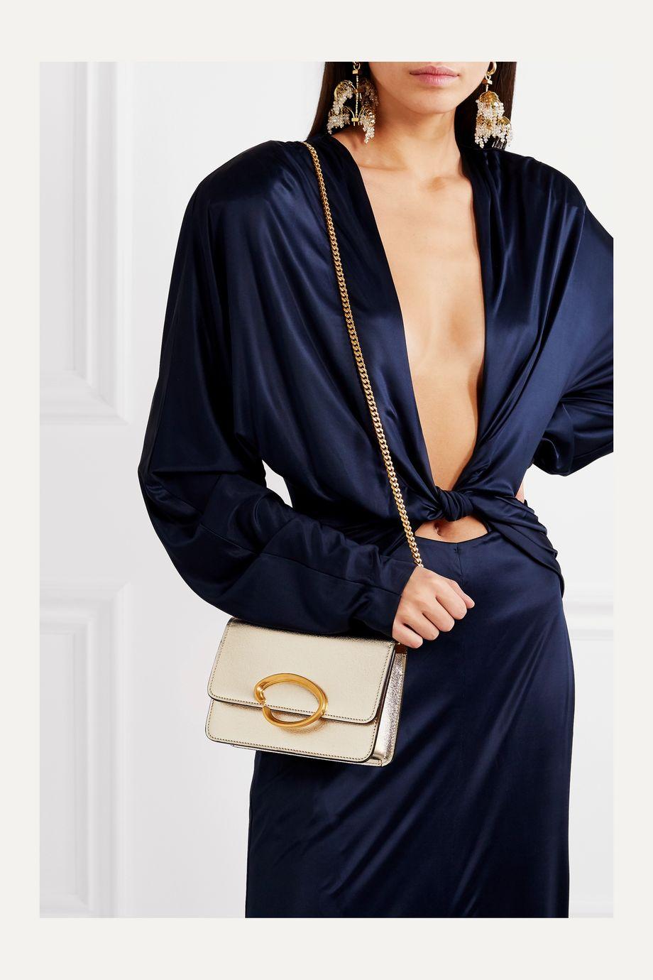 Oscar de la Renta O Chain metallic textured-leather shoulder bag
