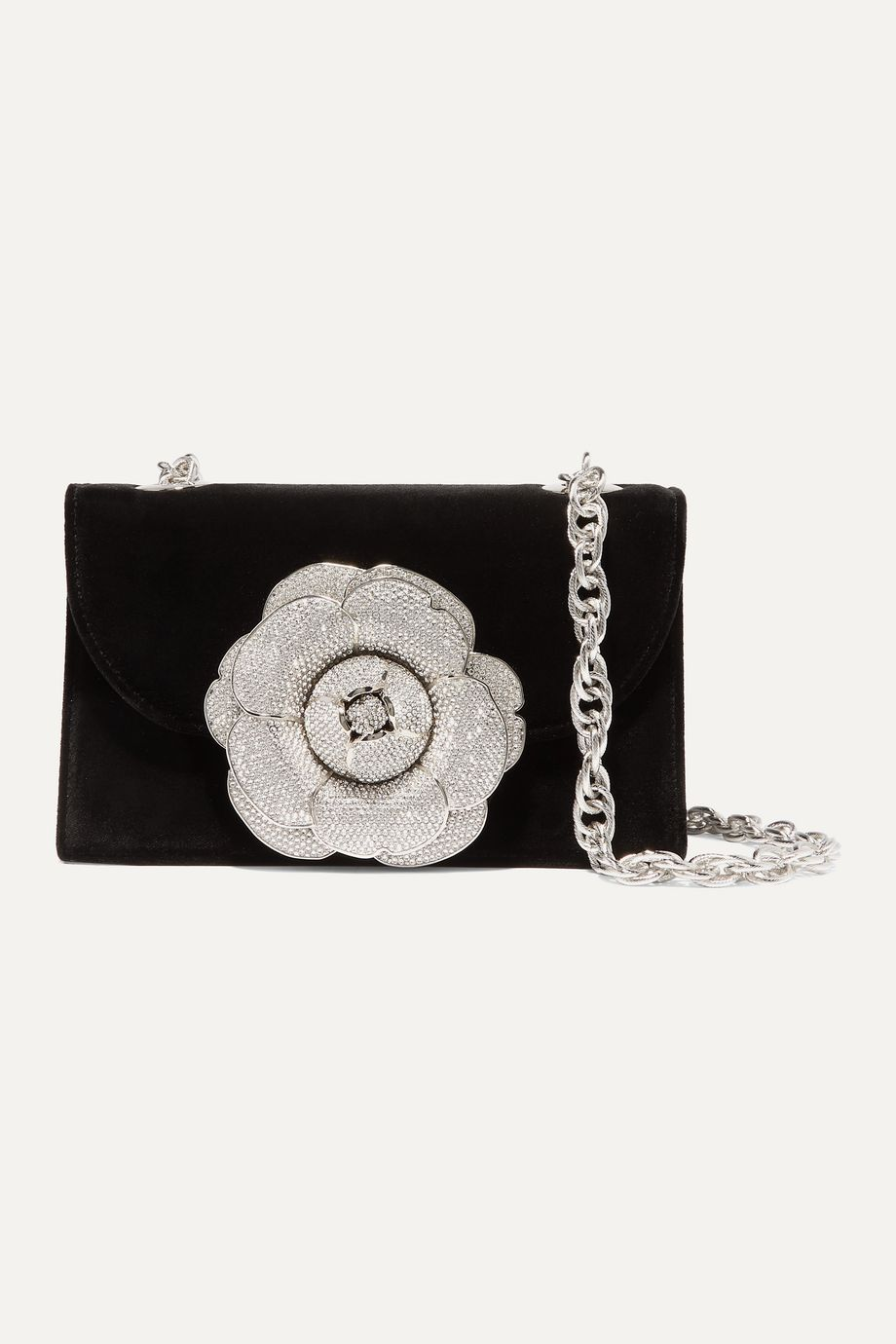 Oscar de la Renta Tro crystal-embellished velvet shoulder bag