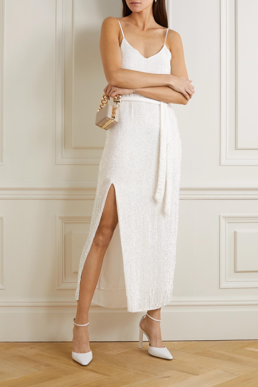 Retrofête Rebecca velvet-trimmed sequined chiffon dress