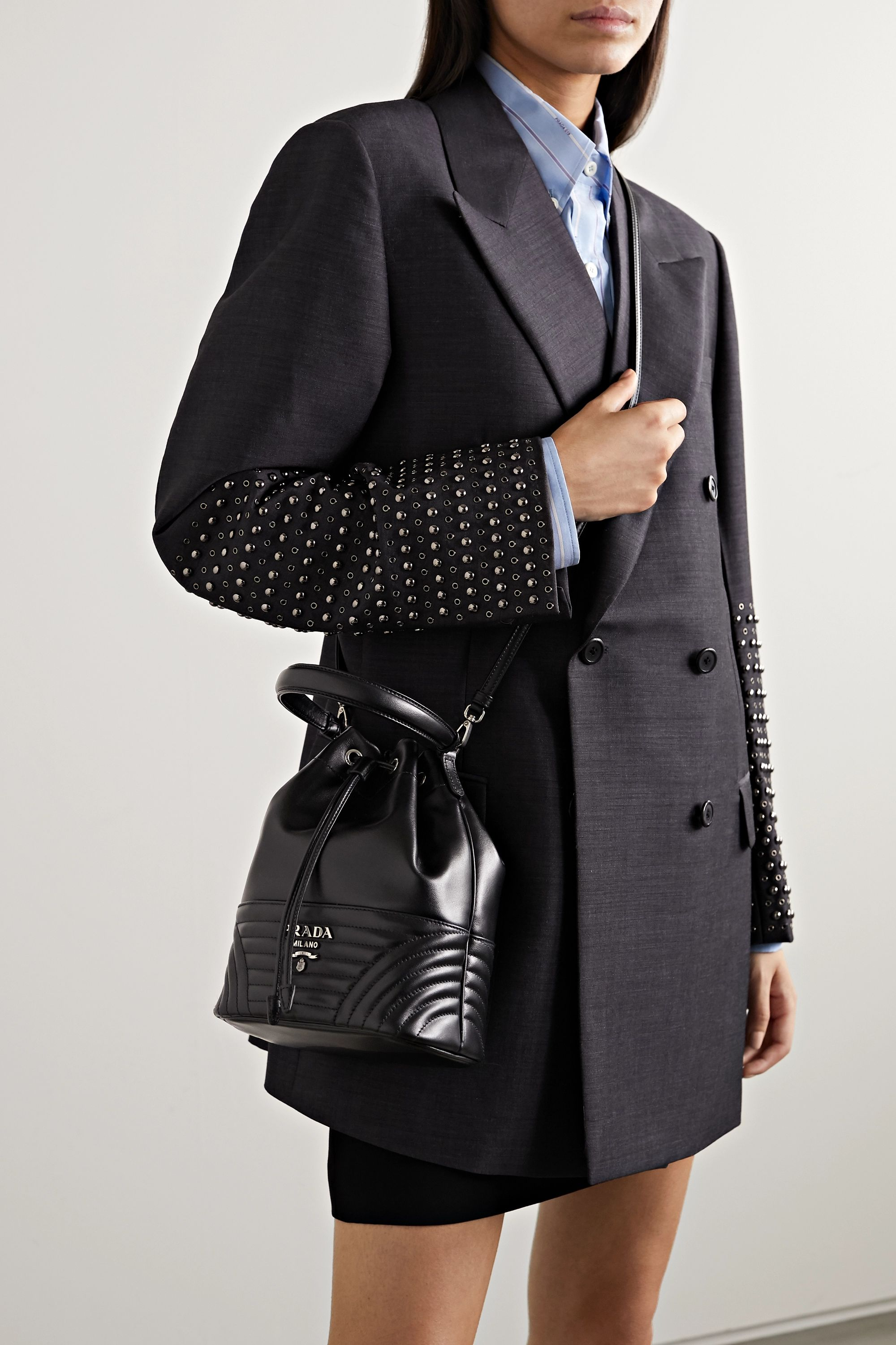 Prada Diagramme quilted leather bucket bag