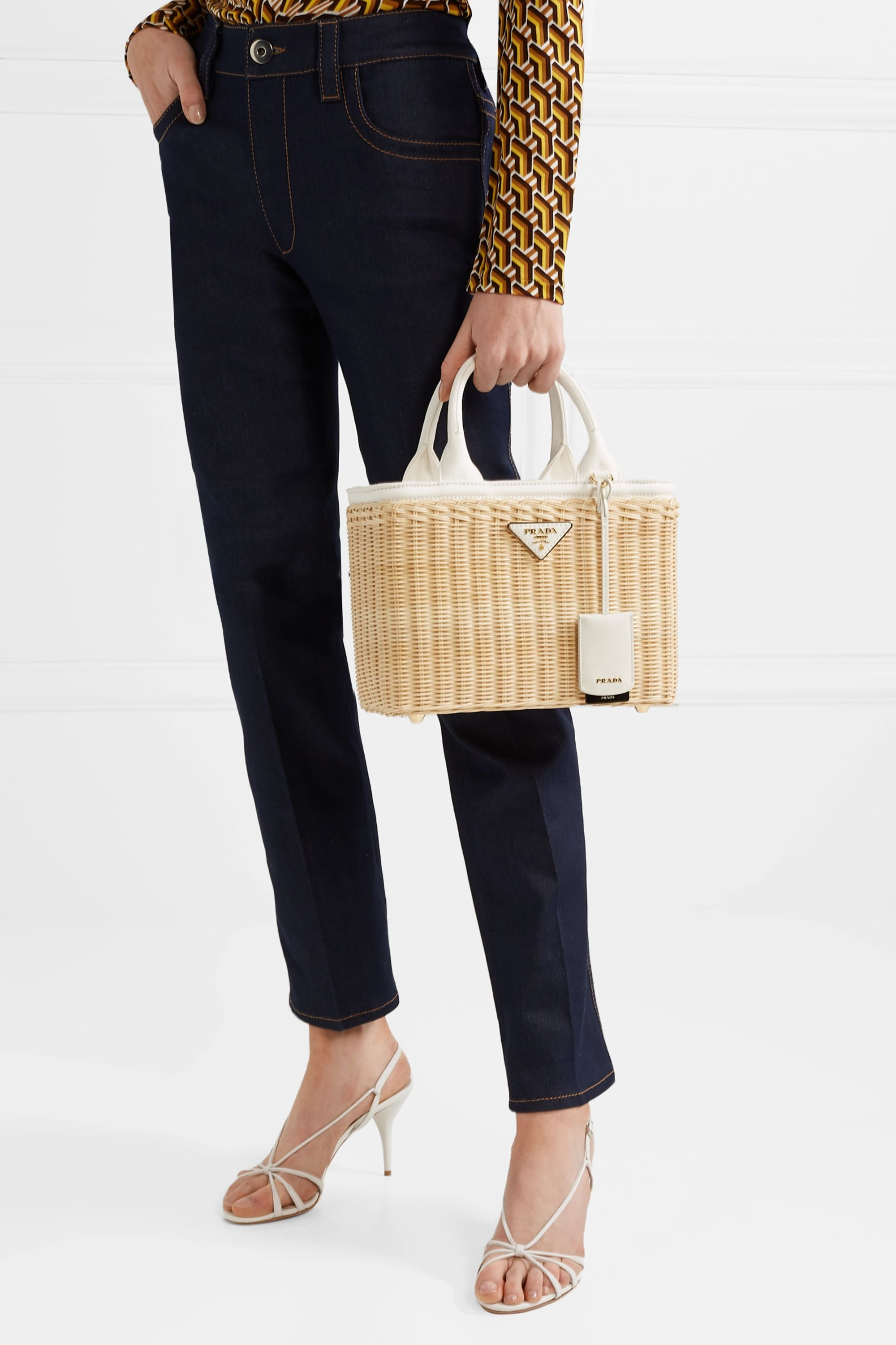 Prada Giardiniera leather-trimmed canvas wicker tote