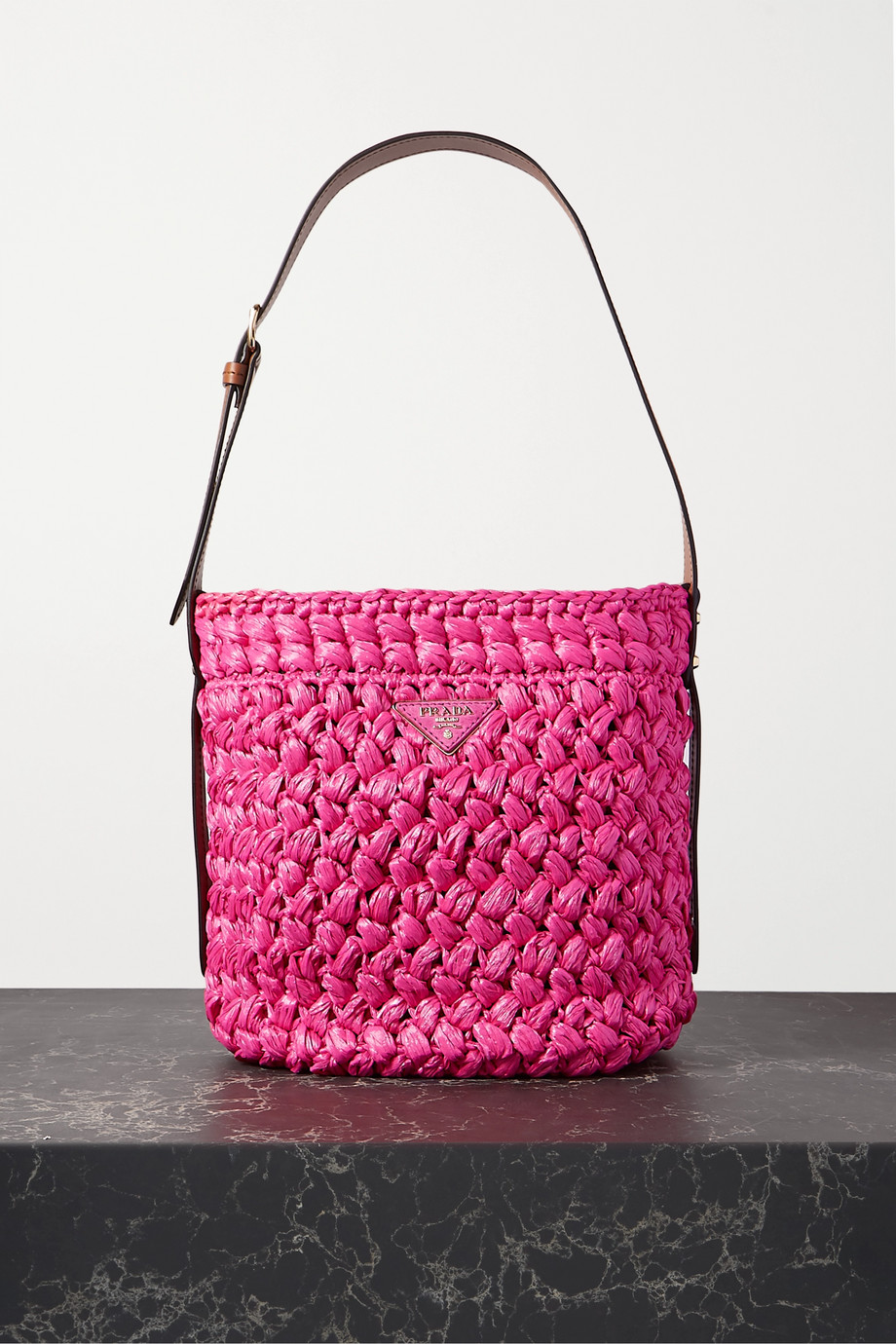 Prada Medium leather-trimmed raffia tote