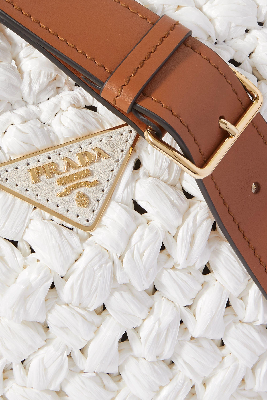 Prada Medium leather-trimmed raffia tote