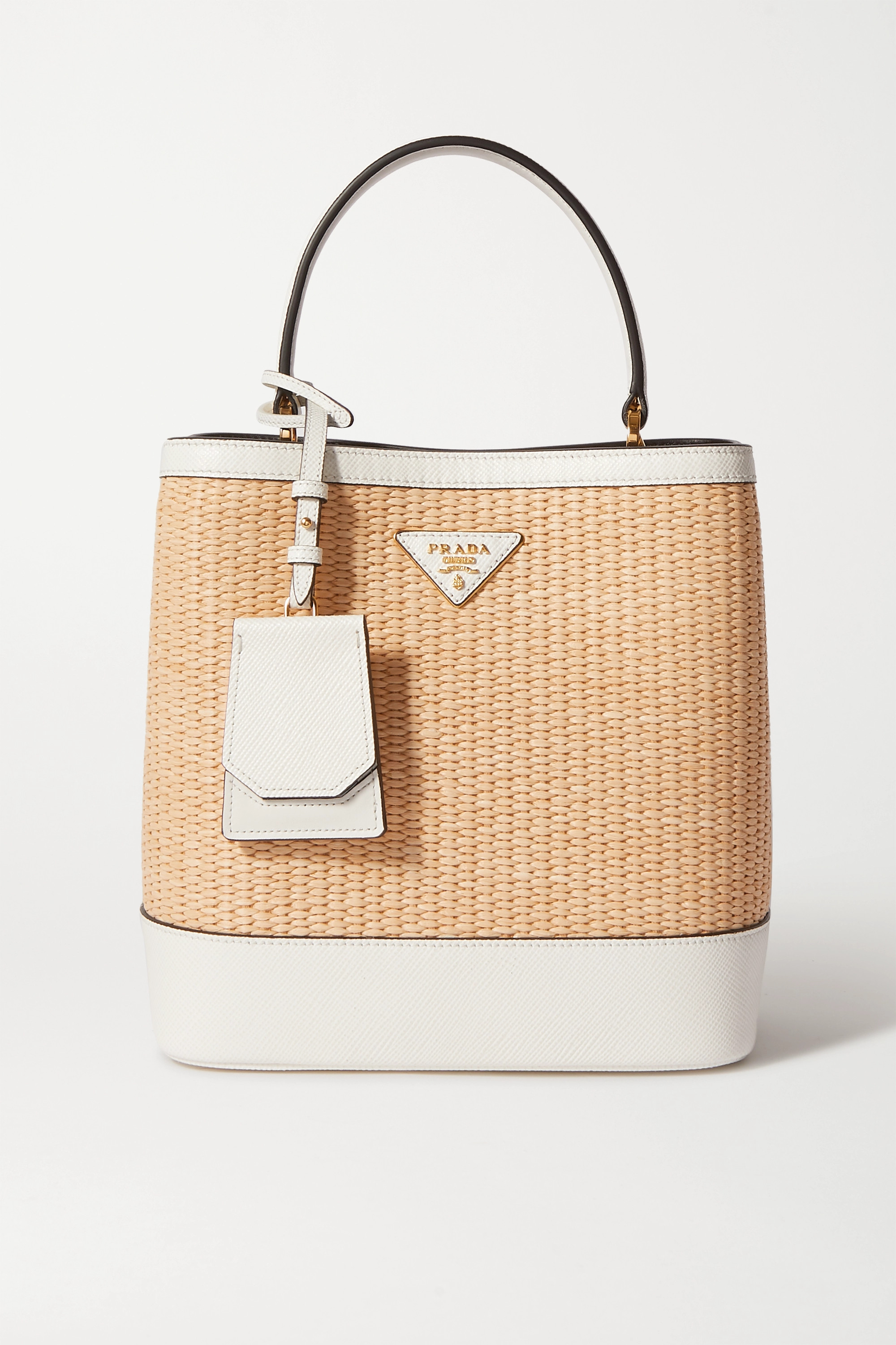 Prada Panier small textured leather-trimmed straw tote