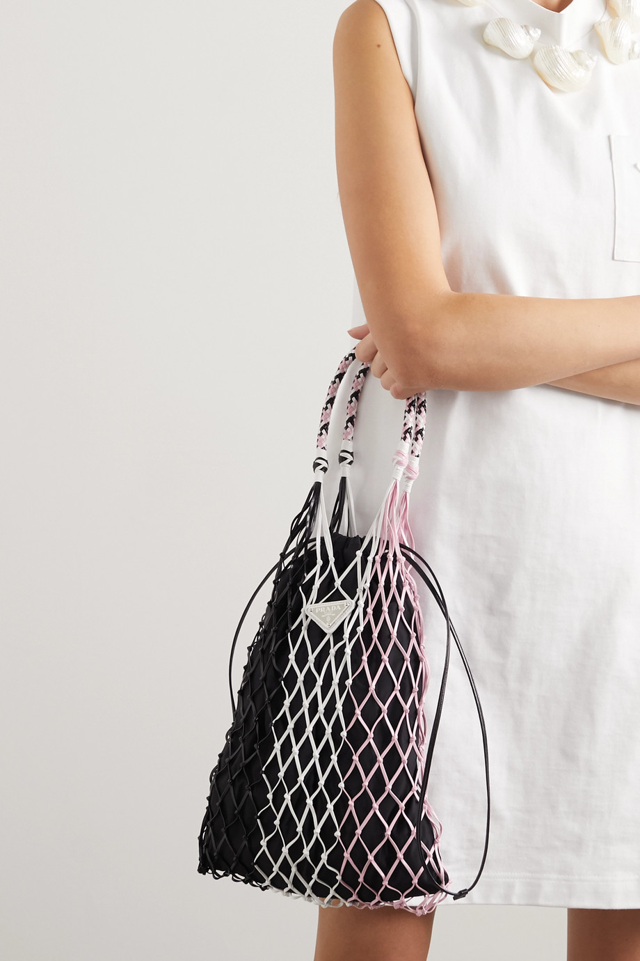 Prada String color-block nylon and leather tote