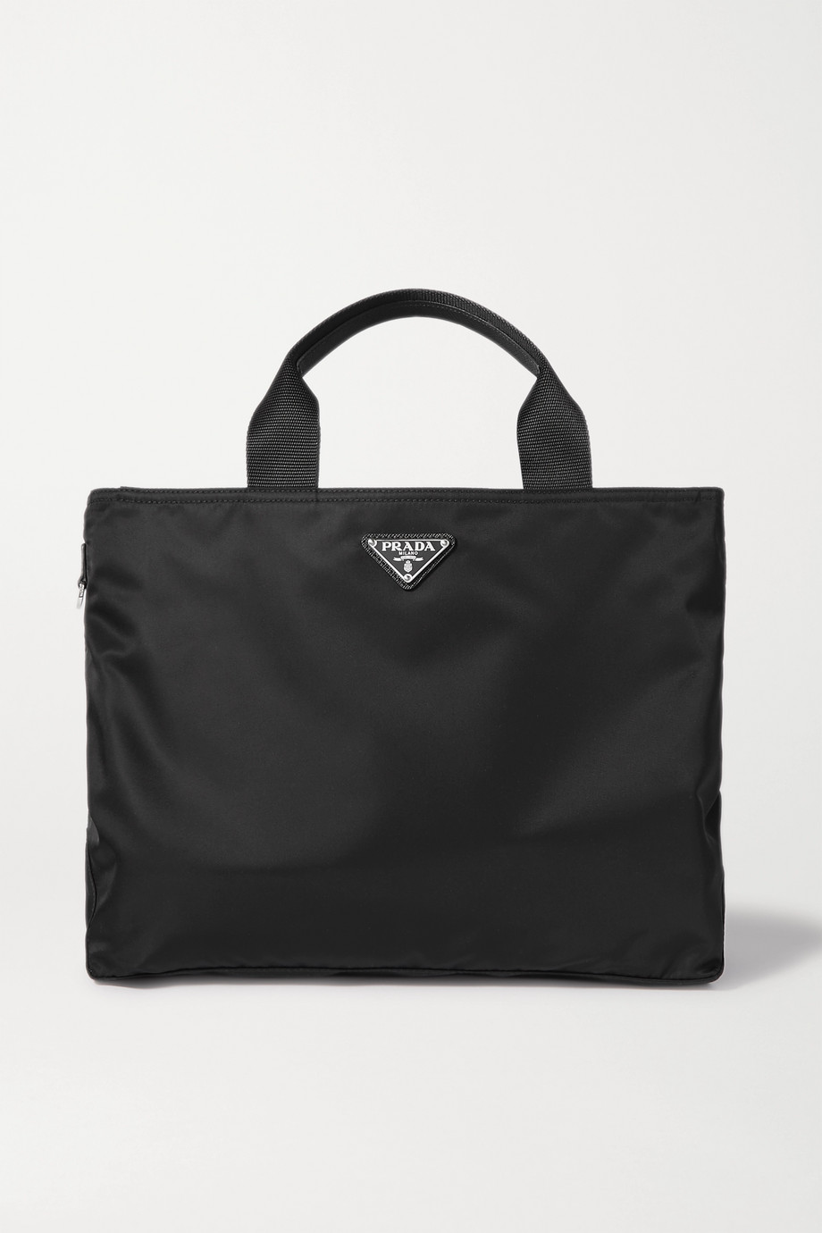 Prada Vela textured leather-trimmed nylon tote