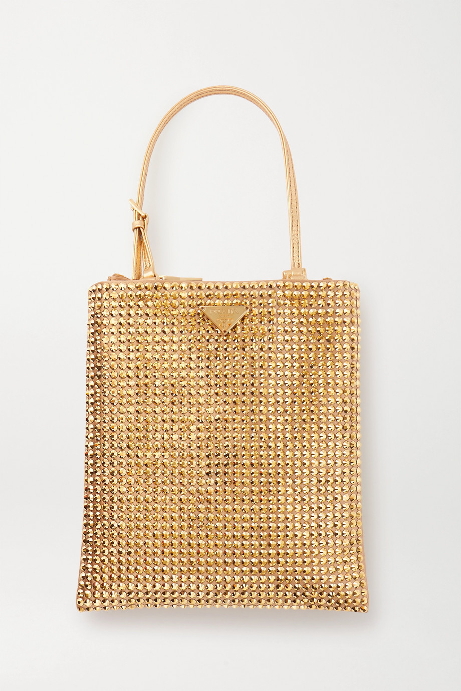 Prada Vela mini leather-trimmed crystal-embellished nylon tote
