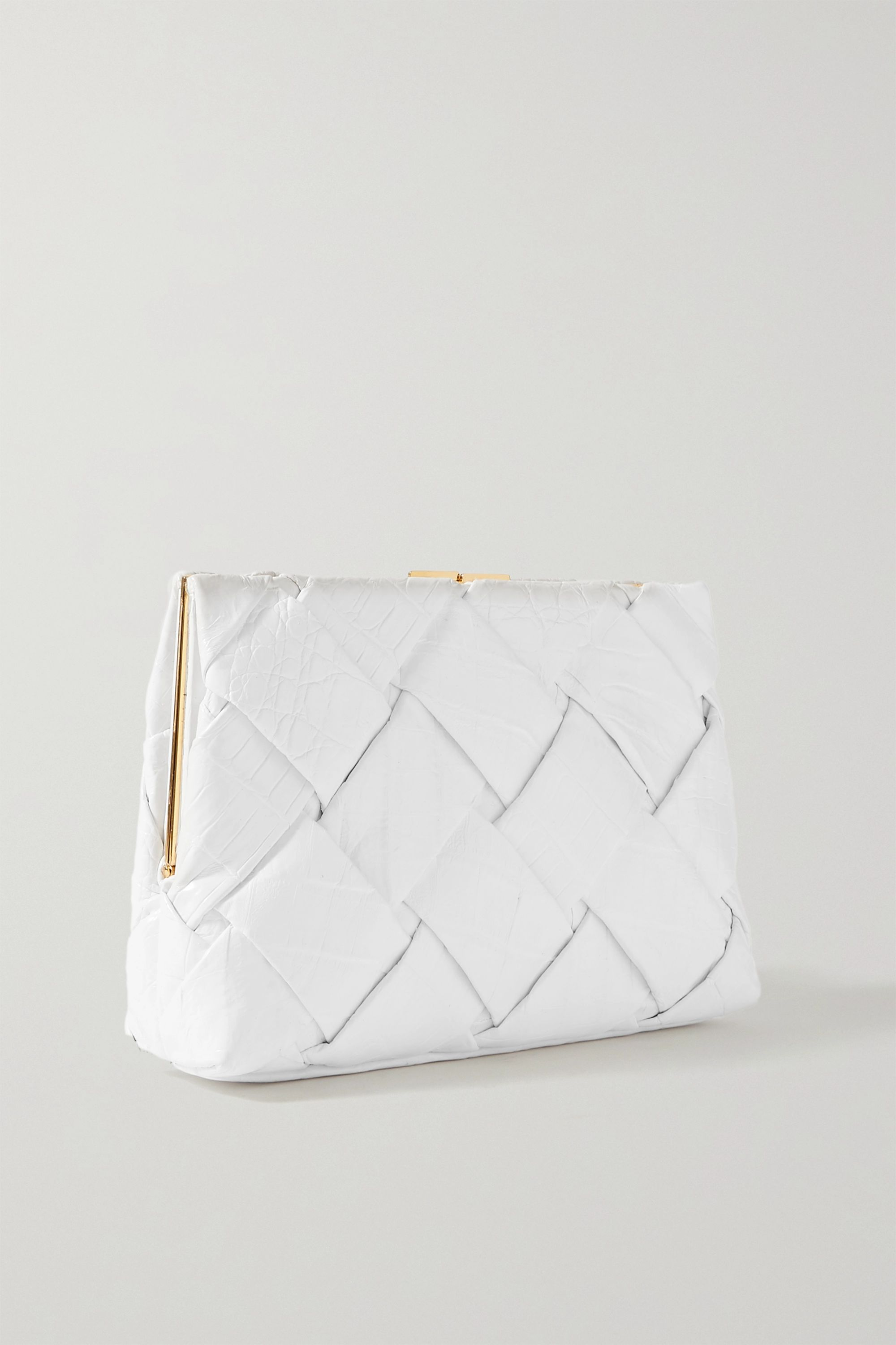 Nancy Gonzalez Woven crocodile clutch
