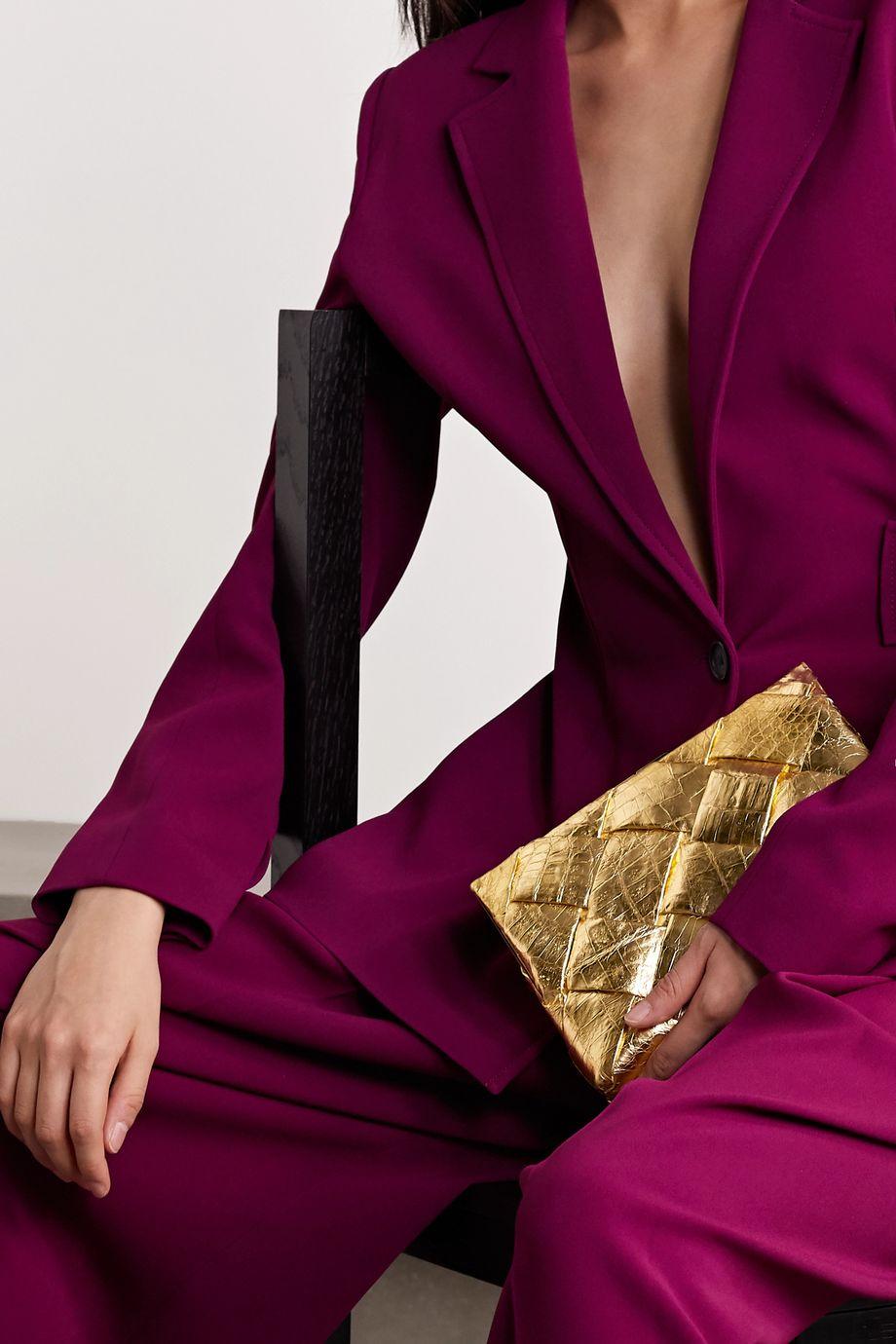 Nancy Gonzalez Woven metallic crocodile clutch