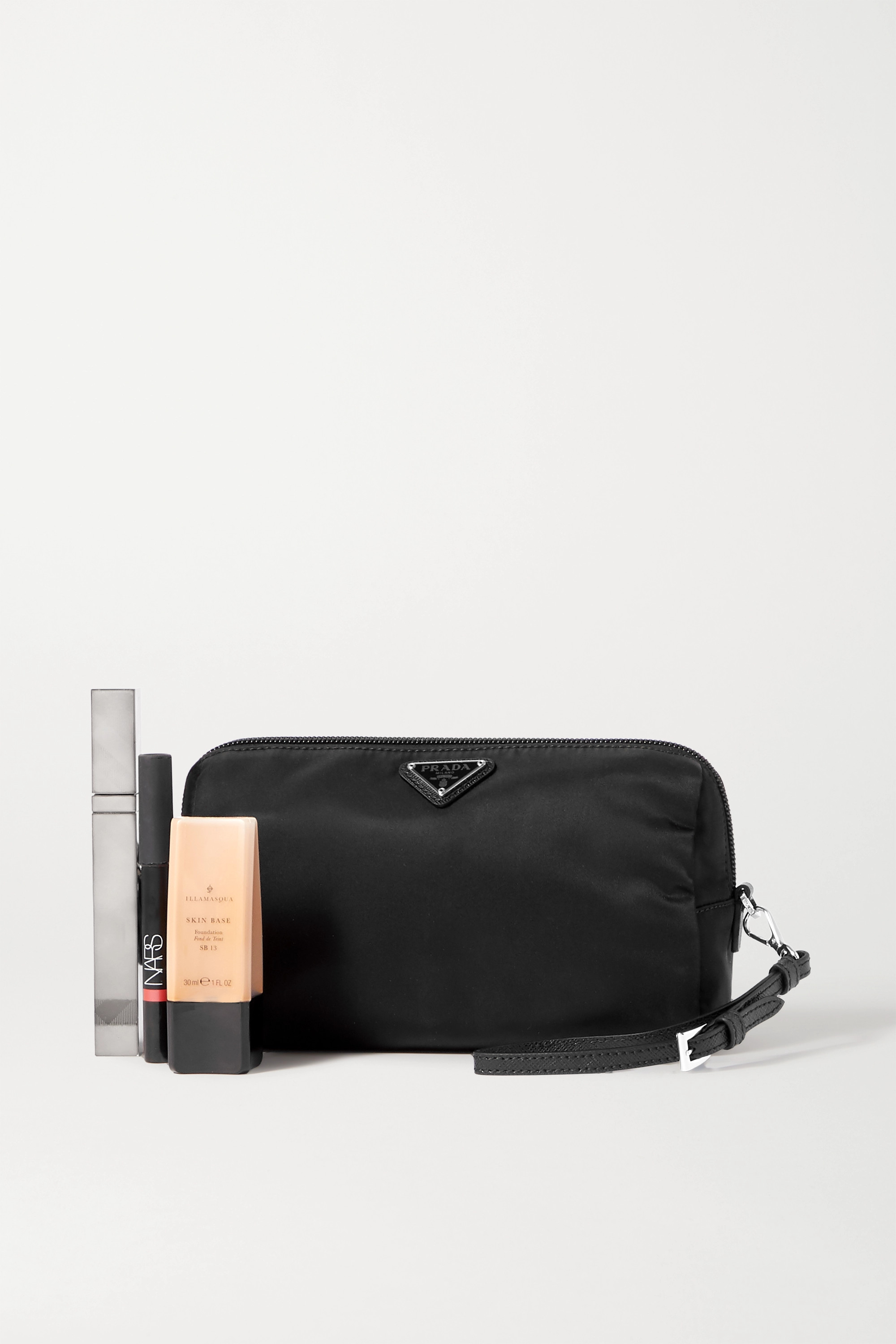 Prada Small appliquéd leather-trimmed nylon cosmetics case
