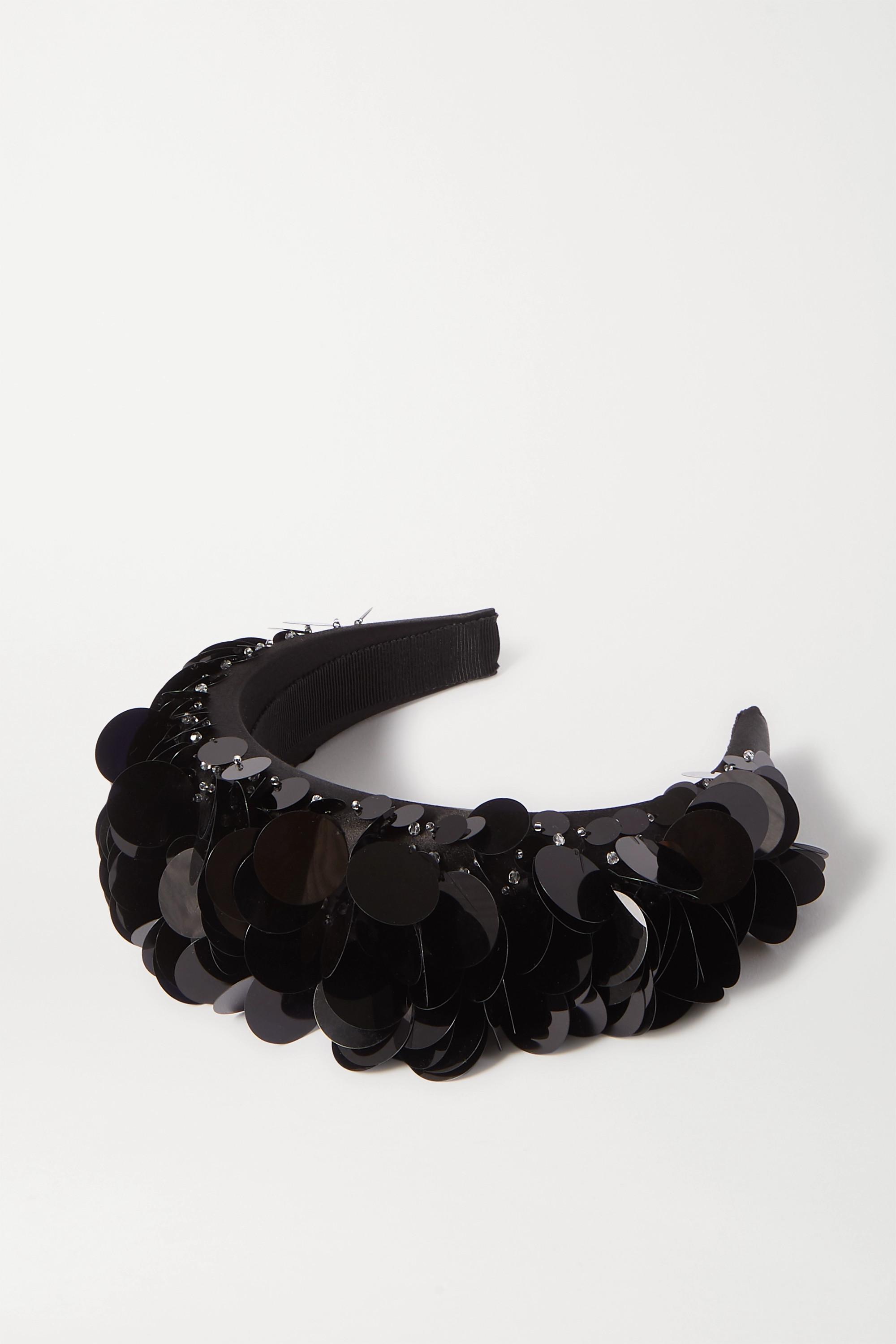 Prada Paillette-embellished satin headband