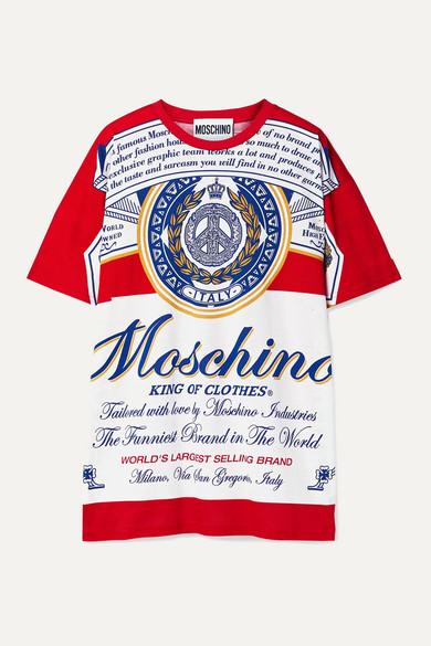 Moschino Shirts + Budweiser oversized printed cotton-jersey T-shirt