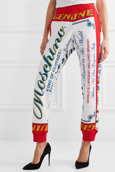 Moschino Pants + Budweiser printed cotton-jersey track pants
