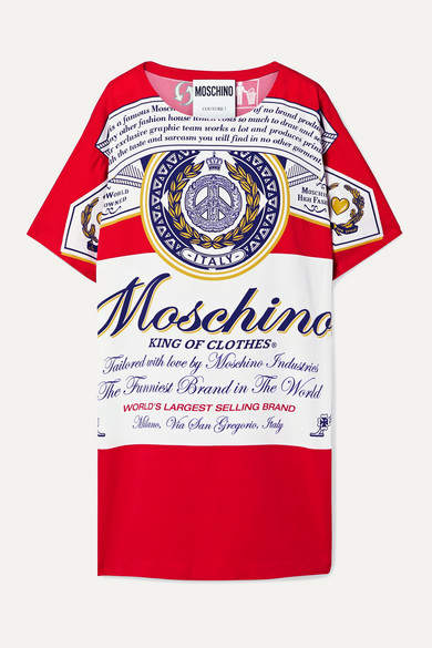 Moschino Dress + Budweiser printed stretch-crepe mini dress