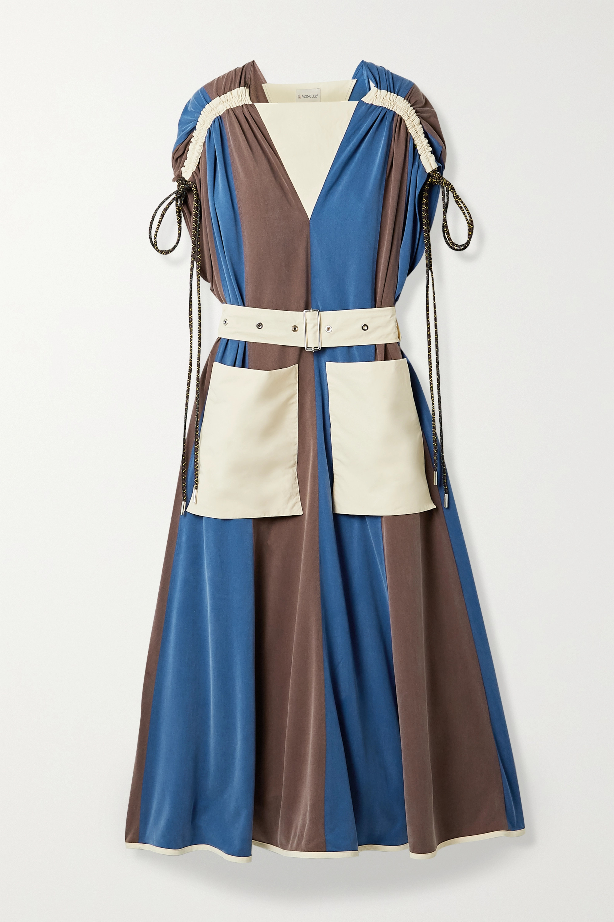 Moncler Genius + 2 Moncler 1952 Abito paneled shell and washed cupro-blend midi dress