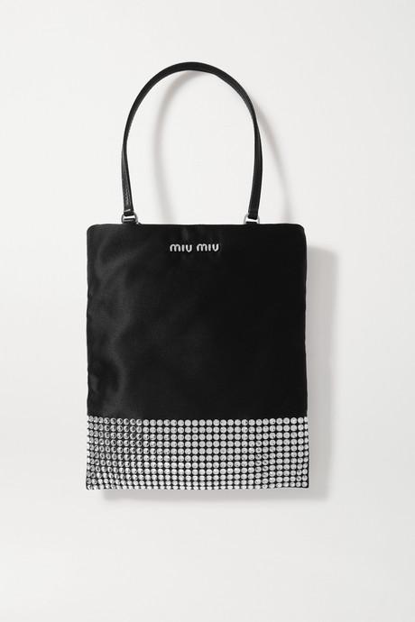 Black Mini crystal-embellished satin tote | Miu Miu wfjSwq