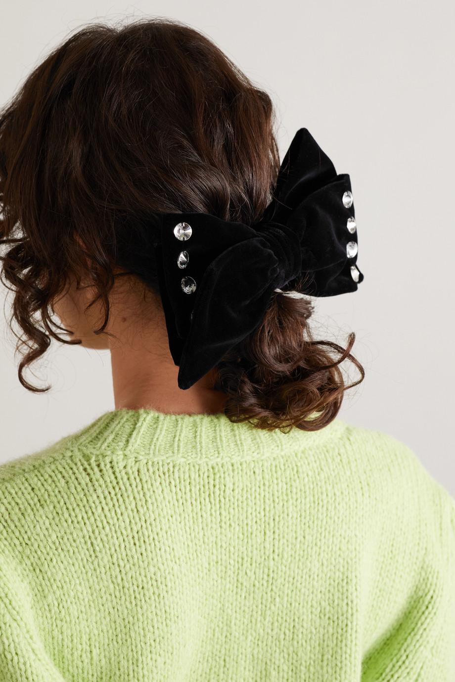 Miu Miu Haarspange aus Samt mit Kristallen