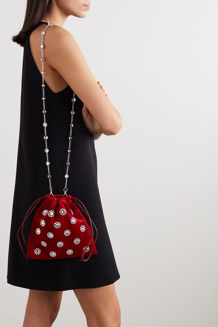 Miu Miu Crystal-embellished velvet clutch