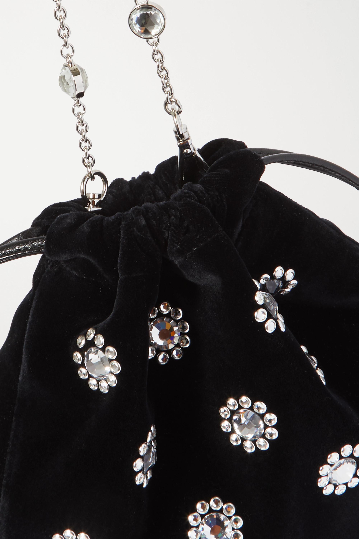 Miu Miu Beuteltasche aus Samt mit Kristallen