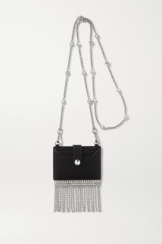 Miu Miu Fringed crystal-embellished textured-leather cardholder