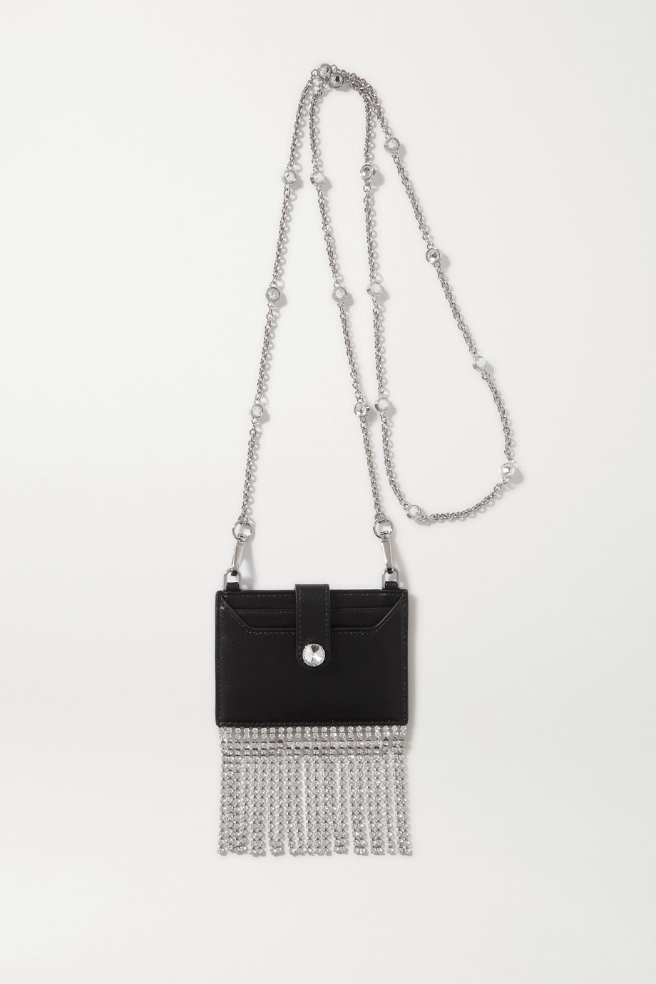 Miu Miu Fringed crystal-embellished textured-leather cardholder