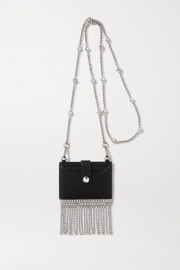 Fringed crystal-embellished textured-leather cardholder