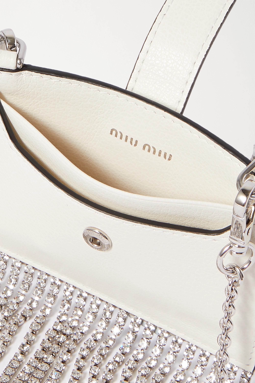 Miu Miu Crystal-embellished textured-leather card holder