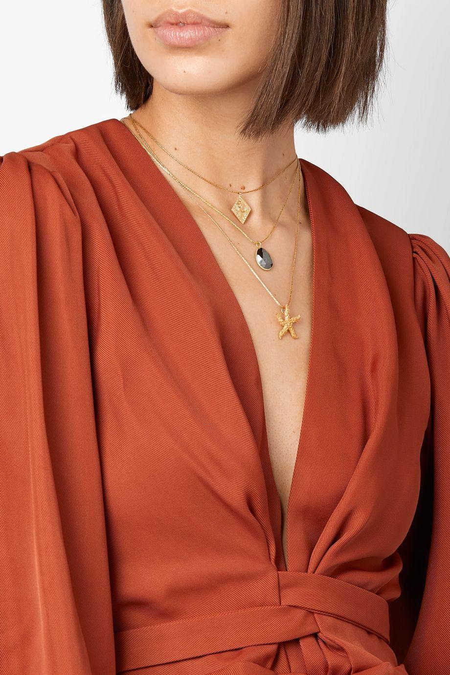 Pippa Small 18-karat gold hematite necklace